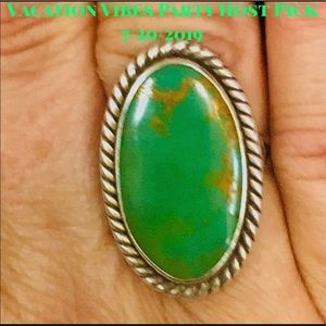 Vintage Navajo Turquoise Sterling Silver Ring Sz 7